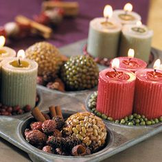 To make this clever arrangement, fill the cups of a muffin tin with various spices, seeds, and dried beans and lentils. In some of the cups, nestle groupings of votive candles. To make the lentil and bean balls, coat small plastic-foam balls with glue and cover with dried beans or lentils. Let dry. Apply a coat of polyurethane to the balls to make them shimmer in the candlelight.