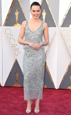 Daisy Ridley in a Chanel Haute Couture dress, Chanel Fine Jewelry, and Christian Louboutin shoes. Oscars 2016.