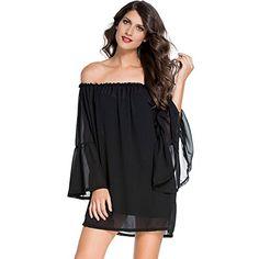 Dress Women 2017 Summer Bohemian Black Off Shoulder Casual Loose Flare  Sleeve Beach Tunic Transparent Chiffon Mini Short Dress 5ff4e195e