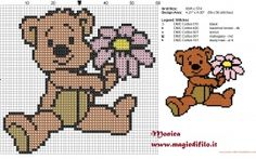 Teddy Bear with a flower cross stitch pattern