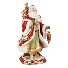 Fitz and Floyd Damask Santa Figurine - Christmas Home Decor at Hayneedle