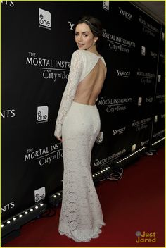 May not be a LBD but Lilly Collins looks stunning in this backless white dress!