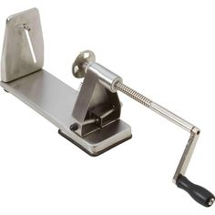 Create dazzling dishes in your restaurant or at home, with this stainless steel spiral slicer from Maxam®. Features razor sharp stainless steel blades, chrome-plated winding rod, screw-on handle and extension. Salad Chopper Bowl, Spiral Vegetable Cutter, Fried Potato Chips, Spiral Cutter, Bbq Thermometer, Noodle Maker, Kitchen Magic, Spiralizer Recipes, Kitchen Tools And Gadgets