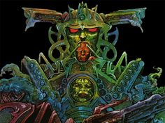 Philippe Druillet is, along with Moebius and Caza, one of the founding visionaries of the movement that took french comics by storm in the Comic Book Artists, Comic Artist, Art Science Fiction, Sci Fi Kunst, Samurai Wallpaper, 70s Sci Fi Art, Art Graphique, Gouache Painting, Comic Character