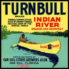 """This fruit crate label was used on Turnbull India River Citrus, c. 1930s: """"Turnbull Brand. Turnbull Hammock settled in 1767 by Andrew Turnbull. Original home of the world's famous Indian River Oranges and Grapefruit. Seald Sweet. Grown and packed by Oak Hill Citrus Growers Assn. Oak Hill, Florida."""" via Vintagraph."""