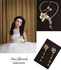 Set of necklace and earrings  with orchid polymer от JewelryFloren