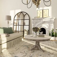dining living room neutral color scheme French Farmhouse Decor, Farmhouse Interior, French Country Decorating, Farmhouse Design, Rustic Design, Oversized Floor Mirror, Classic Living Room, Shabby Chic Interiors, French Country Style