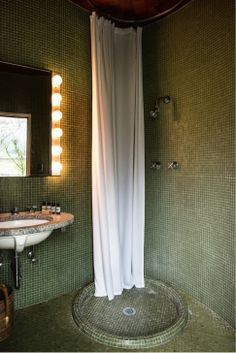 BATHROOM - like the clean industrial look of shower hardware and tile (phillip glass bathroom)