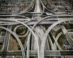 (CALIFORNIA) Highway #1, Intersection 105 & 110, Los Angeles, California, USA, 2003. Chromogenic color print. Photograph © Edward Burtynsky