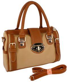 Dual Tone Brown Doctor Style Double Handle Satchel Handbag Purse Hobo Tote Bag - $32.99