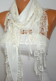 Off White Scarf    Pashmina Scarf   Cowl with Lace by fatwoman, $15.00