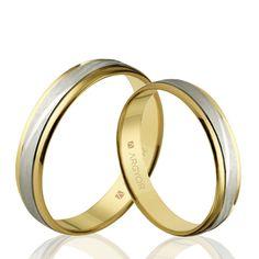 Esta pareja de alianzas originales de Argyor son de oro 18k bicolor. Unos anillos de boda perfectos para sellar vuestro amor.