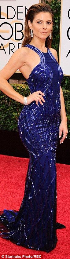 Blue belle! Maria Menounos glitters in a sparkling royal blue gown as she arrives at the 7...