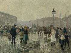 Gammel Strand, Copenhagen - 1919 - Paul Fischers maleri. Assistenshuset set i baggrunden af Paul Fischers maleri af fiskekonerne på Gammel Strand fra 1919.