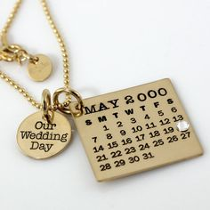 Our Wedding Day Mark Your Calendar Necklace hand stamped and personalized gold filled necklace with crystal for date