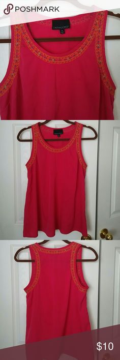 Embroidered top Excellent condition, no stains or flaws. Beautiful embroidery in orange, green and blue. Fits right and 100% polyester Cynthia Rowley Tops Tank Tops