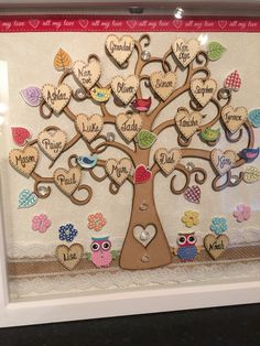 Perfect as a heartfelt gift and Make A Family Tree, Family Tree Frame, Diy Arts And Crafts, Fun Crafts, Personalised Family Tree, Family Crafts, Frame Crafts, Button Crafts, Teacher Gifts