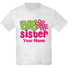 Cafepress Personalized Big Sister Pink Green T-Shirt, Size: Kids Large, Gray