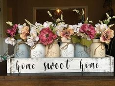 home sweet home mason jar centerpiece mason jar planter boxYou can find Mason jar crafts and more on our website.home sweet home mason jar centerpiece mason jar planter box Farmhouse Table Centerpieces, Mason Jar Centerpieces, Farmhouse Decor, Wood Box Centerpiece, Country Decor, Dining Table Decor Centerpiece, Mason Jar Vases, Lantern Centerpieces, Mason Jar Flowers