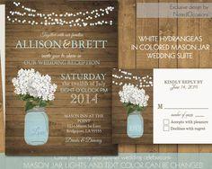 Mason Jar Wedding Invitation Suite - Rustic White Hydrangeas in a soft blue mason jar - Country Wedding Invitations