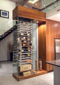 Lacquered walnut and clear anodized aluminum wine cellar to divide the kitchen from the living room. Glass Wine Cellar, Home Wine Cellars, Wine Cellar Design, Wine Glass, Room Interior, Interior Design Living Room, Diy Rack, Wine Display, Wine Wall