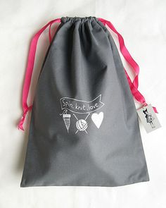 "Grey ""Spin, Knit, Love""  Project Bag for spinners and knitters"