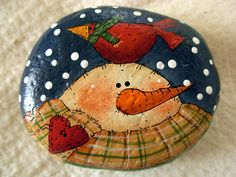 Snowman & Red Cardinal Paperweight Handpainted by bywayofsalem, $12.00
