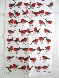Vintage Bird Towel Robins Worm at NeatoKeen on Etsy