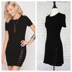 """Black dress has short sleeves and an eyelet lacing feature on the bottom side. Fabric is ribbed and stretchy, slips over head. Measurements UNSTRETCHED laying flat: armpit to armpit - S 16"""", M 17"""", L 17.5"""", smallest part of waist - S 14"""", M 15"""", L 15.5"""", widest part of hips - S 18"""", M 19"""", L 19.5"""", shoulder to hem length - S 34"""", M 34"""", L 34.5"""". (fabric is a stretchy ribbed fabric)"""