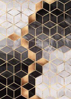 Geometric poster prints by Elisabeth Fredriksson Metallic Wallpaper, Geometric Wallpaper House, Wall Decor, Wall Art, Wall Treatments, Print Artist, Cool Artwork, Textures Patterns, Cube