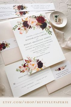 burgundy wedding invitation, blush, floral wedding invitation, boho wedding invitation, bohemian, marsala, purple, fall wedding invitation, romantic, elegant, modern #fallwedding #weddingideas #weddinginspiration #weddinginvitation
