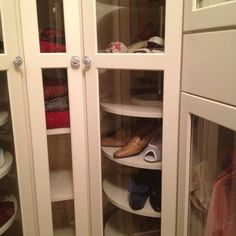 lazy susan shoe rack- could i build on a metal pole & put in an ikea closet? Closet Shoe Storage, Ikea Closet, Closet Shelves, Closet Space, Shoe Closet, Closet Organization, Wardrobe Closet, Smart Closet, Corner Wardrobe
