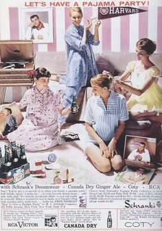 Let's Have A Pajama Party!  1950s advertisement.