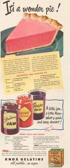Raspberry Jam Chiffon Pie Recipe From Knox Gelatine Retro Recipes, Old Recipes, Vintage Recipes, Cookbook Recipes, Cooking Recipes, 1950s Recipes, Blender Recipes, Vintage Cooking, Pastries