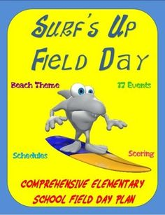 The following product is a comprehensive elementary school, field day plan with accompanying documents and materials. The plan incorporates a beach theme (SURFS UP) which can be modified to suit your school or educational setting. The package includes field day instructions, class, event and lunch schedules, optional scoring procedures and score sheets, and 17 relay-type events for the gym, blacktop, water area and grass field.