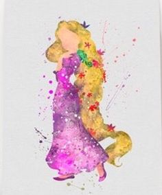 Braided rapunzel watercolor