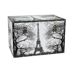 Paris Storage Trunk ($170) ❤ liked on Polyvore featuring home, home decor, small item storage, black, black storage furniture, paris home decor, black trunk, black white home decor and twin pack