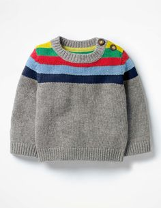Knitting Patterns Jumper Cold spell on the way? Dress up your little one in this cheery striped jumper to brighten up dreary … Baby Cardigan Knitting Pattern Free, Baby Boy Knitting Patterns, Knitting For Kids, Knitting Designs, Knit Baby Sweaters, Crochet Baby, Cashmere, Breeze, Shoulder