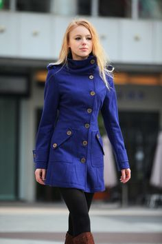 Blue Wool Coat Fitted Cashmere Coat Women Coat by Sophiaclothing