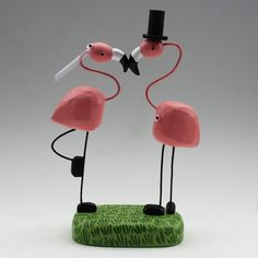 This is my cake topper! LOVE IT! Bride and Groom Flamingos by bunnywithatoolbelt on Etsy, $120.00