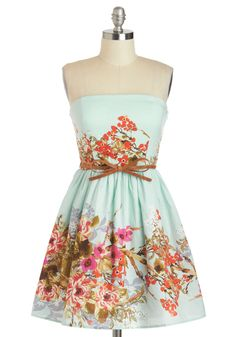 Tell Me a Secret Garden Dress - Mint, Multi, Floral, Bows, Daytime Party, Fit & Flare, Strapless, Summer, Belted, Pastel, Spring, Cotton