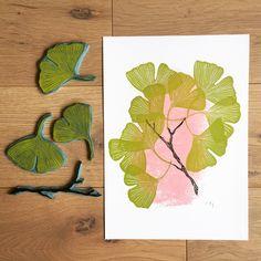 Ginkgo du matin.... . . . #ginkgo #japanstyle #spring #printing #linocut #gravure #linogravure #rubberstamp #stamping #tampon