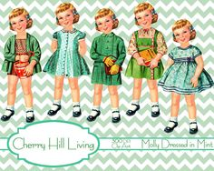 Paper Dolls Clip art Paper dolls digital paper by CherryHillLiving, $5.00
