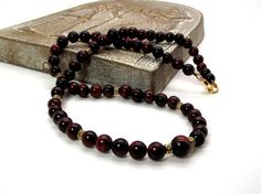 Red Men's Necklace Men's Red Tiger's Eye Necklace by Designed By Audrey