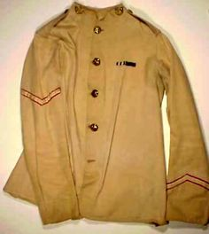 This khaki tunic was worn by 582 Private Kinghorne in January 1885, when the 2nd Battalion was sent to Egypt. We know this because inside is a label, DLI 582 1 85, giving the soldier's number and the date the tunic was issued.     Private Kinghorne served with Lieutenant de Lisle's Mounted Infantry in Egypt, and may have been present when Jimmy Durham was found. His medals are on display in the DLI Museum's medal room.
