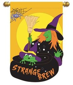 "Strange Brew Witch Halloween Flag by Flag Center. $19.99. Double applique. 13"" x 18"". Enhance your home or garden. Decorative outdoor garden flag - Double-sided applique flag"