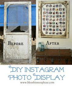 DIY Instagram Photo Display made from an old screen door! You could also use a  big frame...: