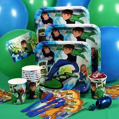 """Ben 10 Party Pack for 8. Shindigz Party Pack for 8, Ben 10: package of 8 nine inch plates Package of 16 luncheon napkins Package of 8 cups Package of 8 thank you notes 8 each plastic knives, forks and spoons One 54"""" x 108"""" tablecover 66' of curling ribbon 2 pakages of 12 balloons in 2 colors. Price: $20.00"""