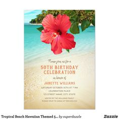 Shop Tropical Hibiscus Hawaiian Beach Engagement Party Invitation created by superdazzle. 60th Birthday Party Invitations, Beach Theme Wedding Invitations, Bridal Shower Invitations, 50th Birthday, Wedding Card, Hawaiian Birthday, Anniversary Invitations, Wedding Dj, Hawaiian Invitations
