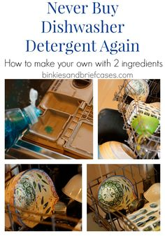 homemade dishwasher detergent...2 drops Dawn and 2 T baking soda
